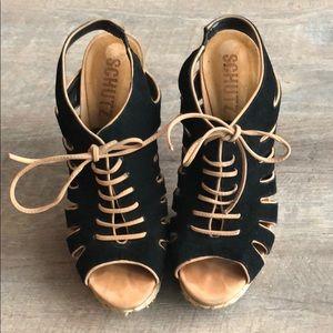Schutz raffia tie-up platform heels